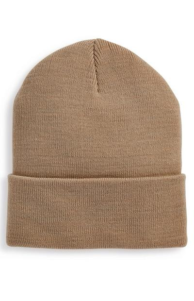 Beige Deep Cuff Beanie Hat