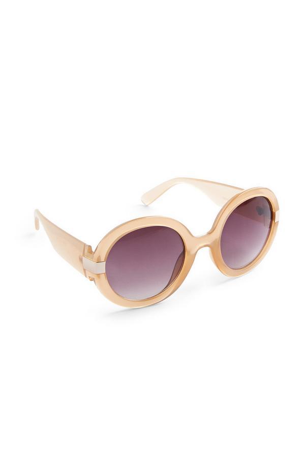 Rožnata okrogla sončna očala