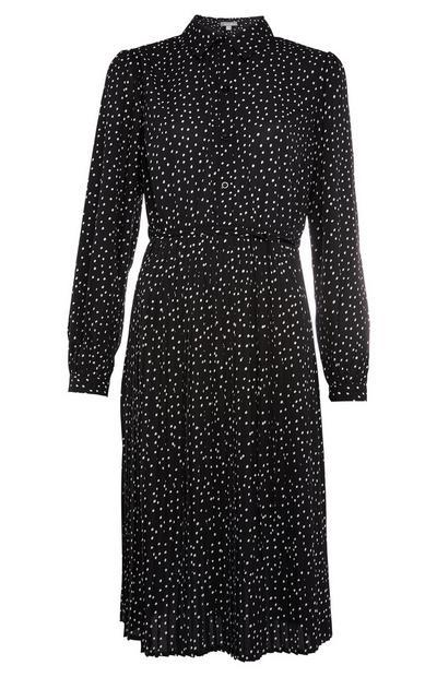 Black Pleated Midi Shirt Dress