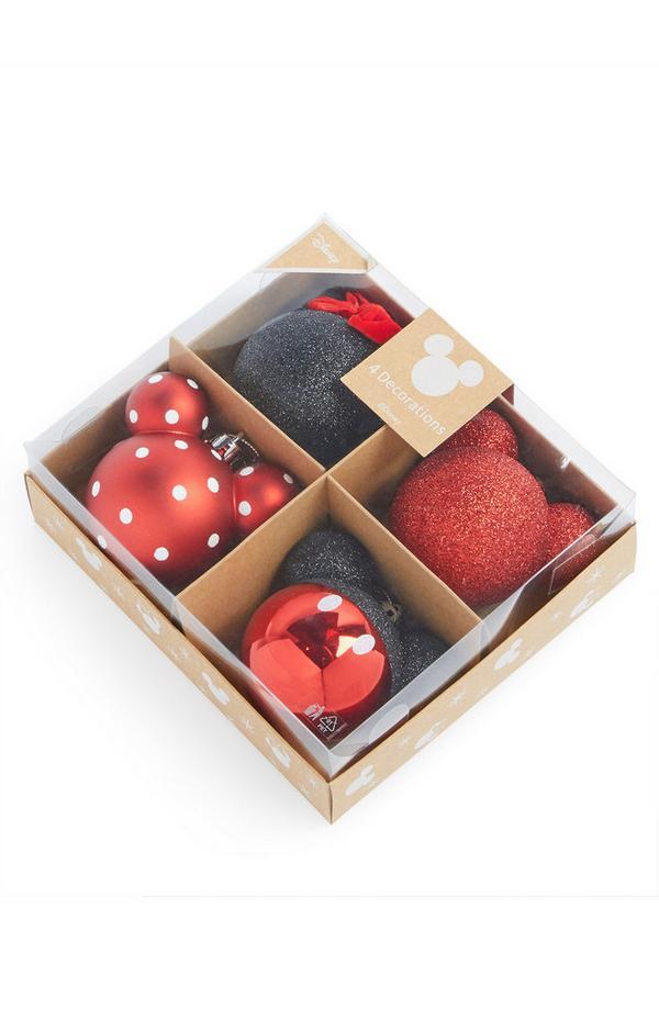 Kerstballen Mickey Mouse, set van 4