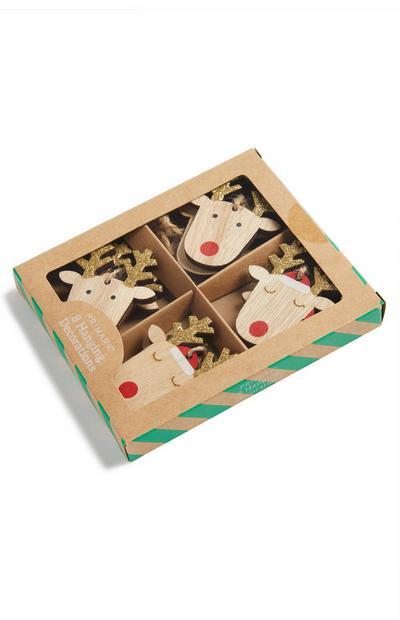 8-Pack Reindeer Ornaments