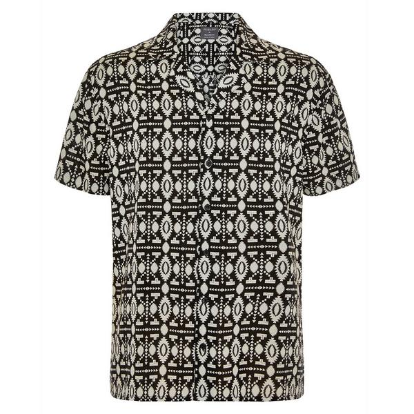 Monochrome Aztec Print Viscose Short Sleeve Shirt