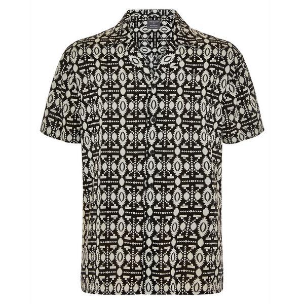 Zwart-wit overhemd van viscose met Azteekse print en korte mouwen
