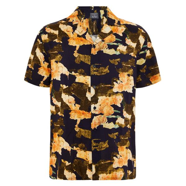 Viscose overhemd met goudkleurig patroon en korte mouwen