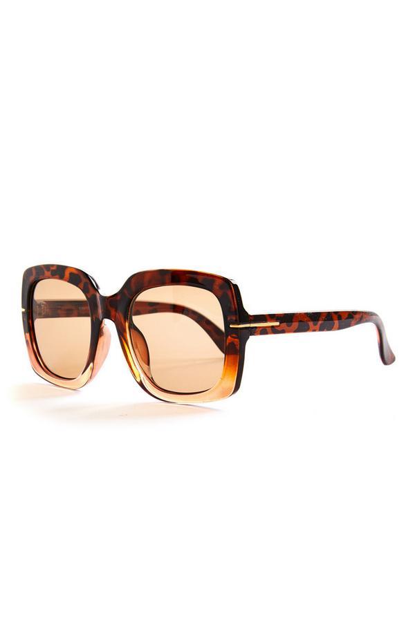 Oversized-Sonnenbrille in Schildpattoptik und Ombré-Look