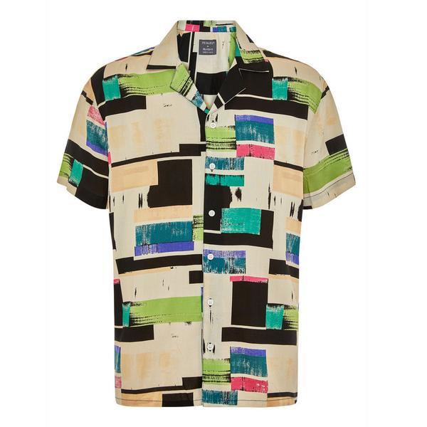 Meerkleurig overhemd van viscose met kleurblokken en korte mouwen