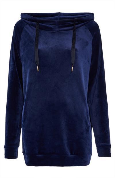 Maglia blu navy con cappuccio morbida