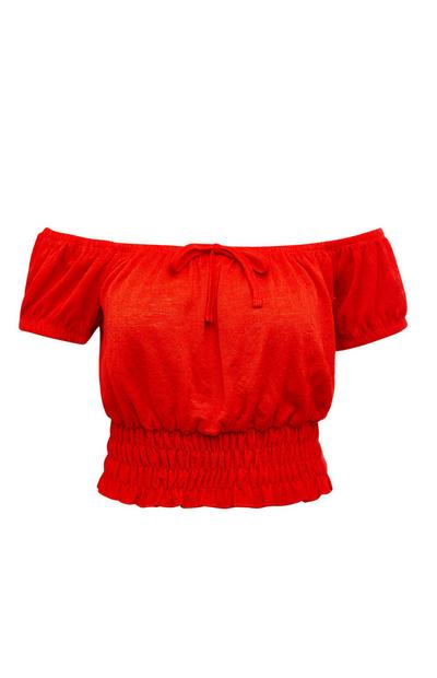 Red Crinkle Cropped Bardot Top