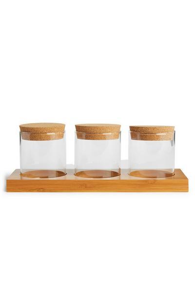 Glass Jars Set Of 3 Cork Lids
