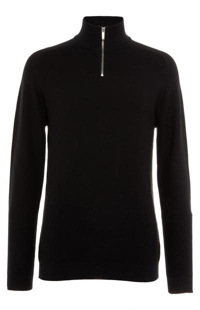 Black Longsleeved Half Zip Jumper