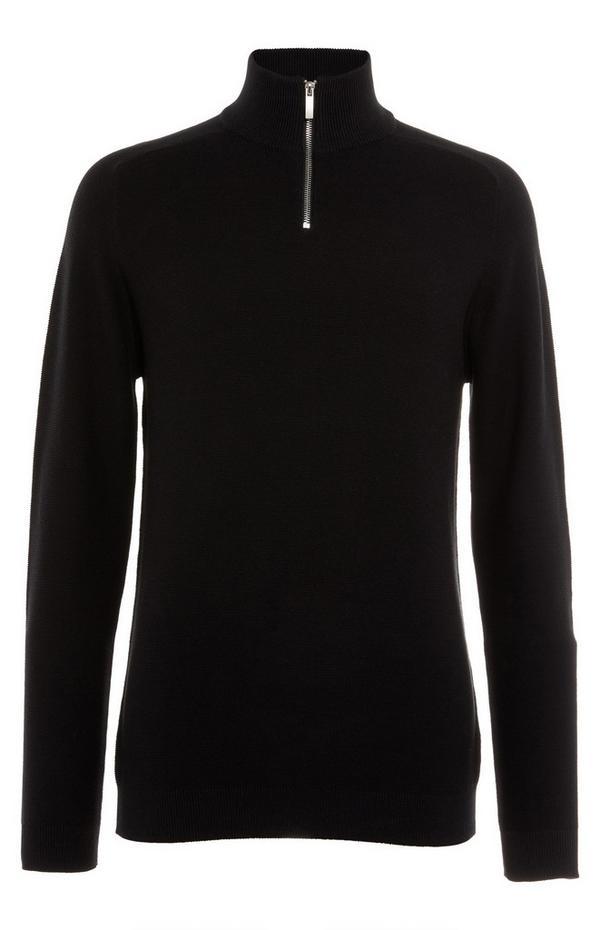 Siv pulover z dolgimi rokavi in kratko zadrgo