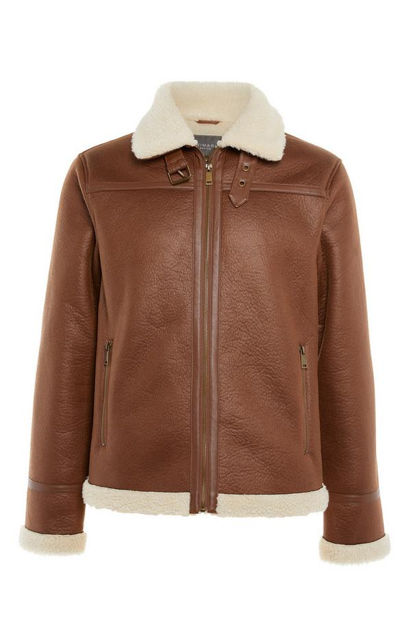Brown Faux Leather Borg Aviator Jacket
