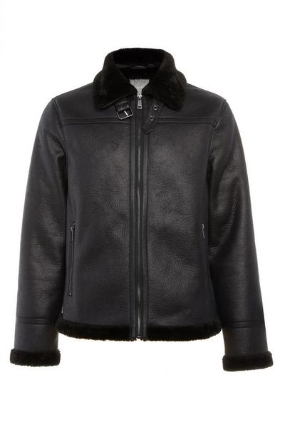Black Faux Leather Borg Aviator Jacket