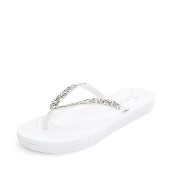 White Diamante Flip Flops