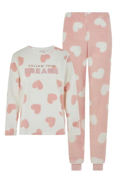 Pink Follow Your Dreams Slogan Pyjama Set
