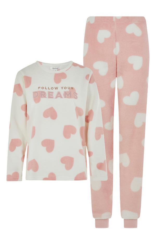 Conjunto de pijama con mensaje «Follow Your Dreams» de color rosa
