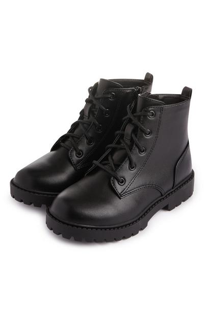 Younger Boy Lace Up Black Boots