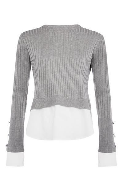 Grey 2-In-1 Ribbed Sweater and Shirt