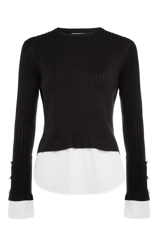 Schwarzer, gerippter 2-in-1-Pullover mit Hemd