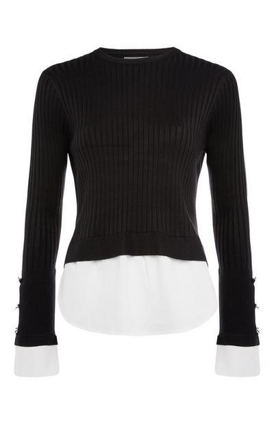 Camisola c/ camisa canelada 2 em 1 preto