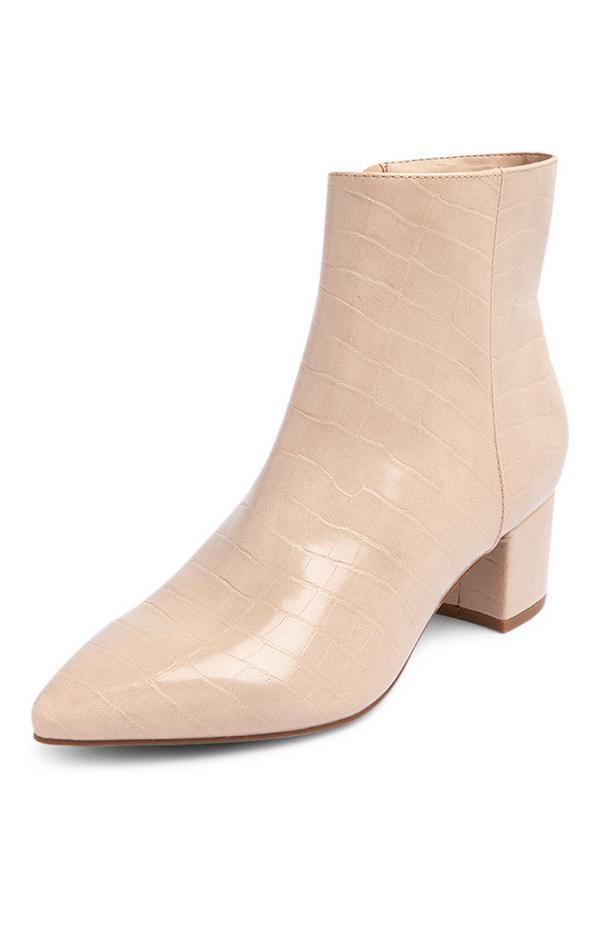 Beige Point Low Block Heel Boots