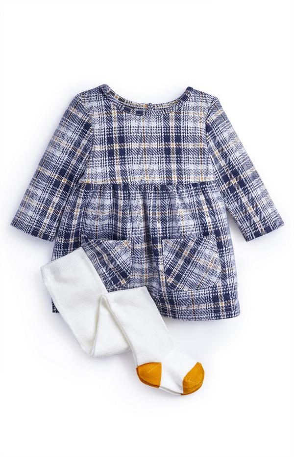 Baby Girl Brushed Checked Dress And Tights Set