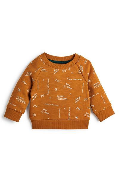 Baby Boy Orange Print Crew Neck Sweatshirt