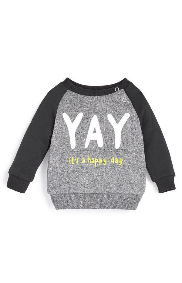 Siv fantovski pulover z napisom YAY za dojenčke