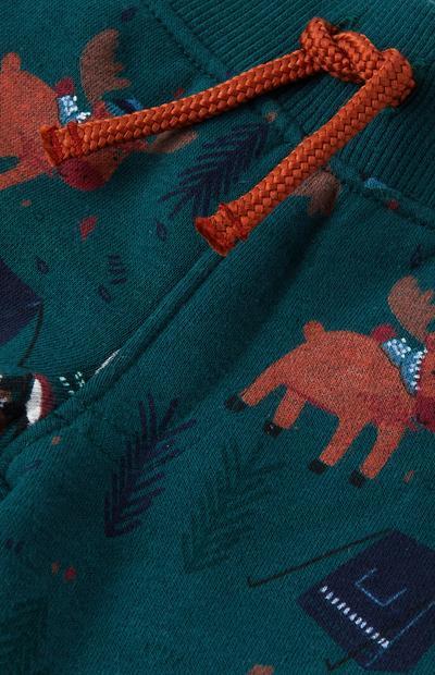 Grüne Jogginghose mit Elch-Print für Babys (J)