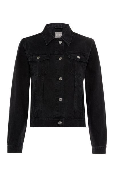 Black Shearling Denim Jacket
