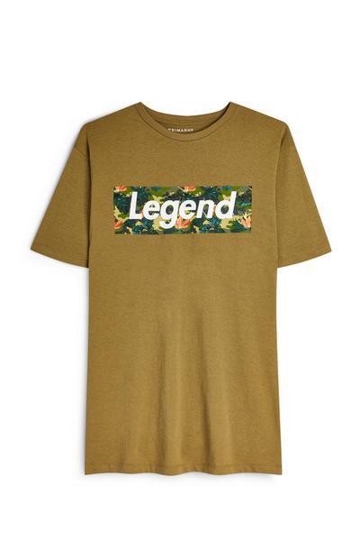 Kaki T-shirt met korte mouwen en 'Legend'-logo