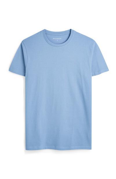 Camisetas azules claro de manga corta y cuello redondo