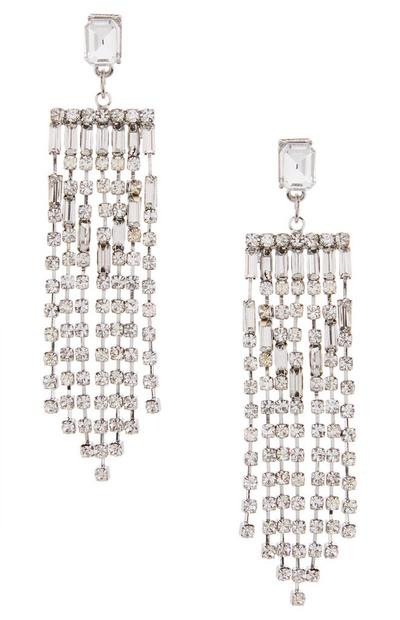 Mix Gem Stone Diamond Waterfall Earrings