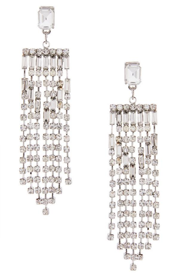 Mix Gem Stone Diamond Waterfall Earrings