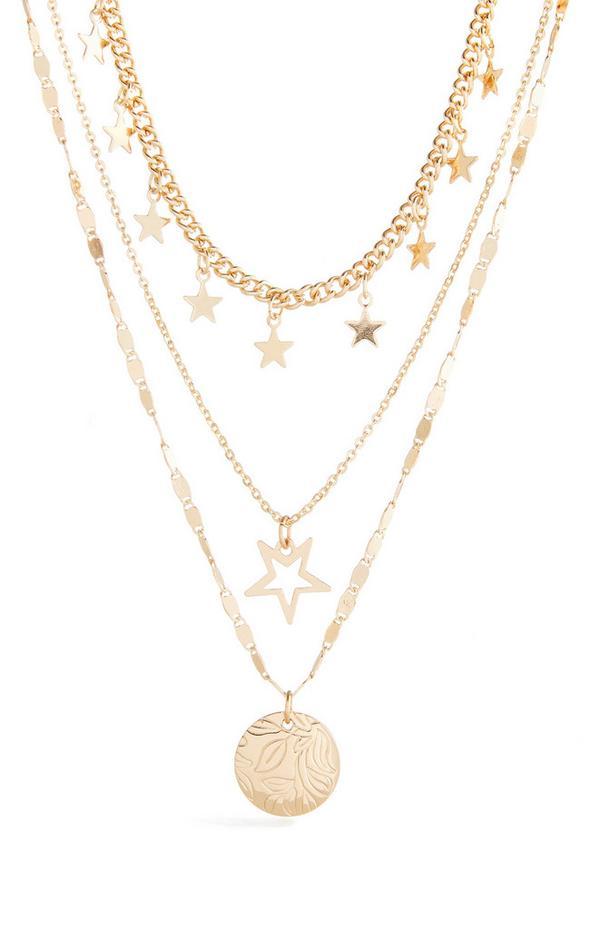 Dreireihige Halskette mit Sternanhänger in Gold
