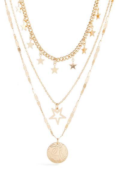 Collar dorado de tres cadenas con colgantes de estrella