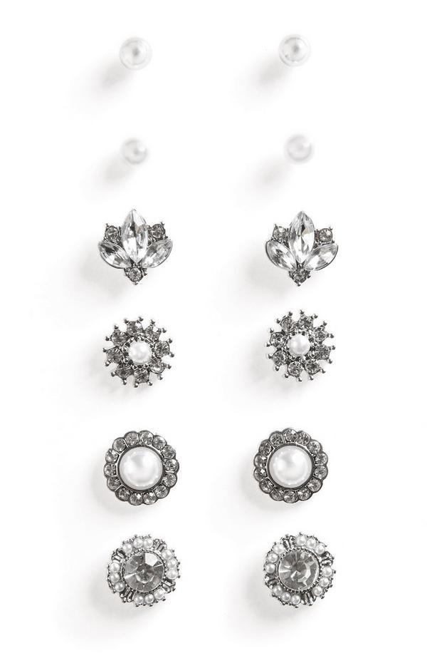 Silberfarbene Ohrringe mit Strasssteinen und Perlen, 6er-Pack