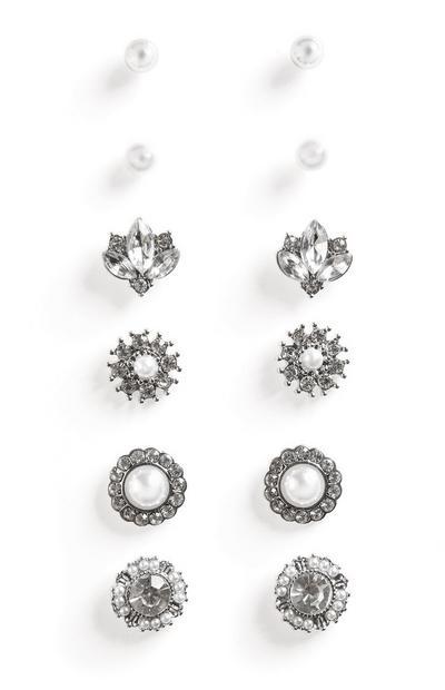 Zilverkleurige oorbellen met bloemen en parels, 6 paar