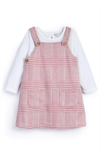 Baby Girl Brushed Tartan Pinny Set