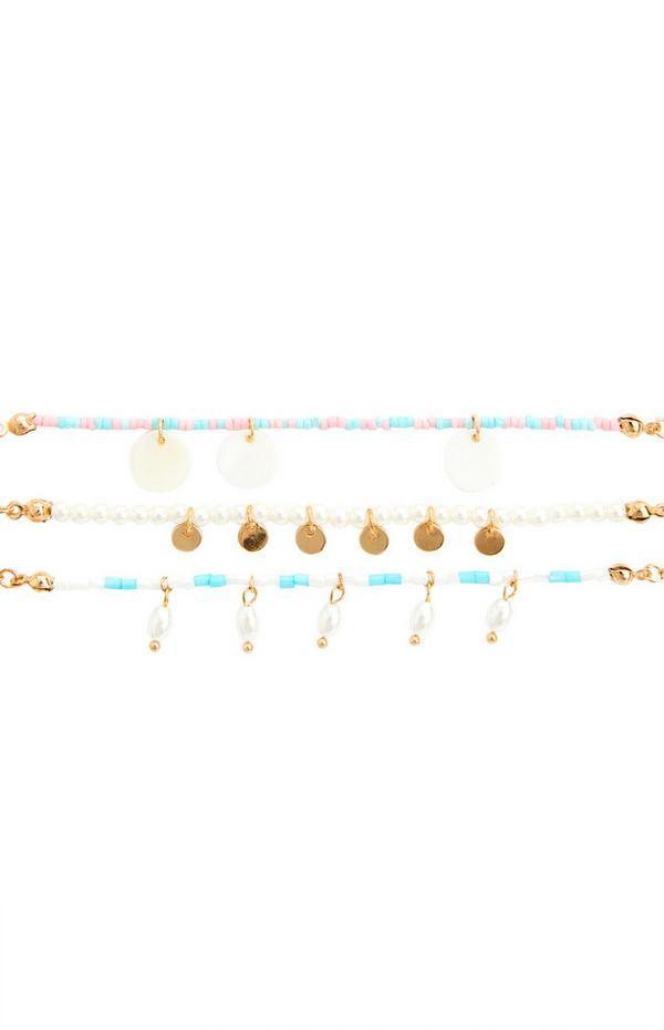Goldfarbene Fußkettchen mit bunten Perlenanhängern, 3er-Pack