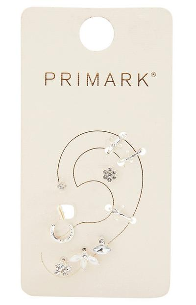 Curated Ear Rhinestone And Pearl Earrings Set