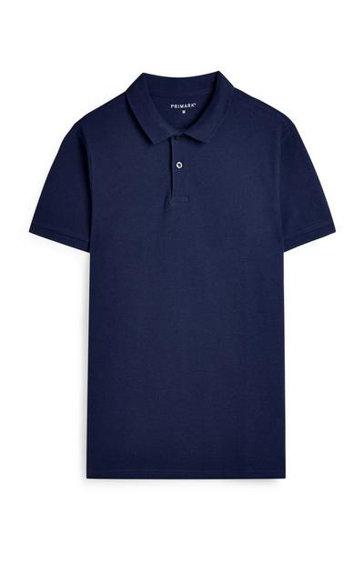 Donkerblauw T-shirt met korte mouwen en polokraag