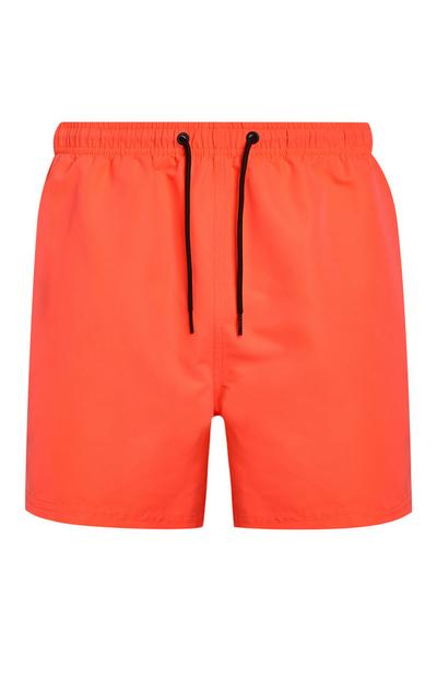 Short de bain orange fluo en microfibre