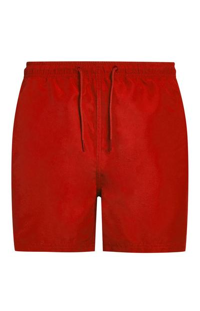 Short de bain rouge en microfibre