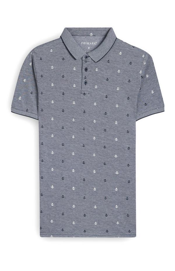 Grey Anchor Print Polo T-Shirt