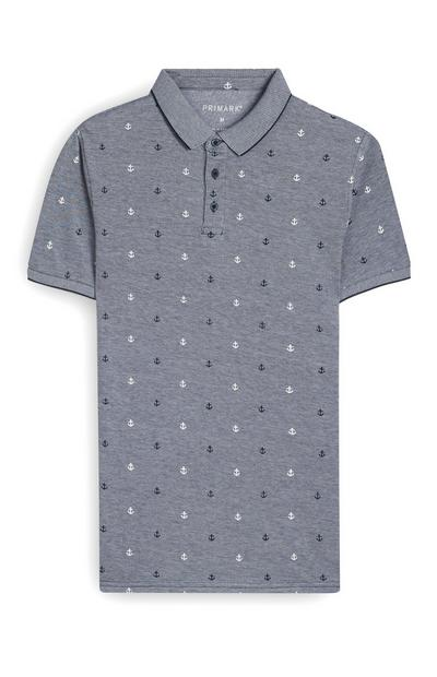 Grey Anchor Print Polo T-Shirt