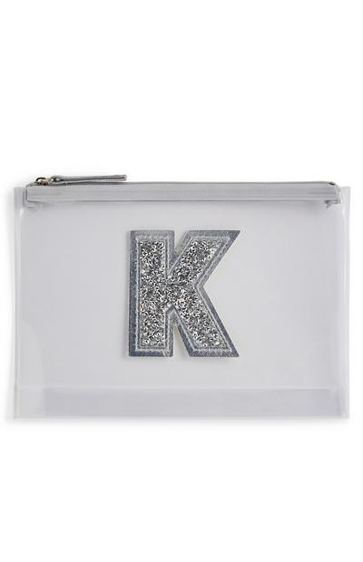 Silver Glitter Personalised Initial Clear Perspex Purse
