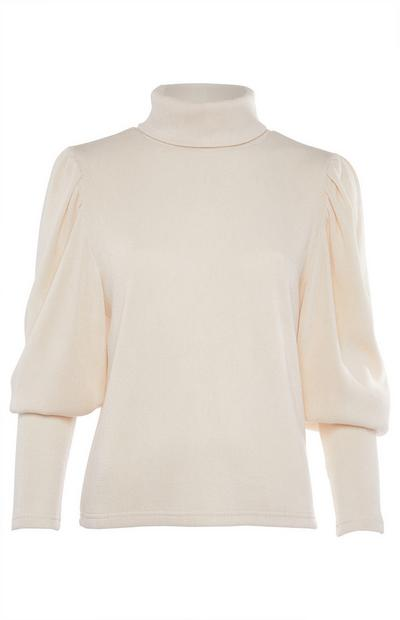 Cream Balloon Sleeve Roll Neck Sweater
