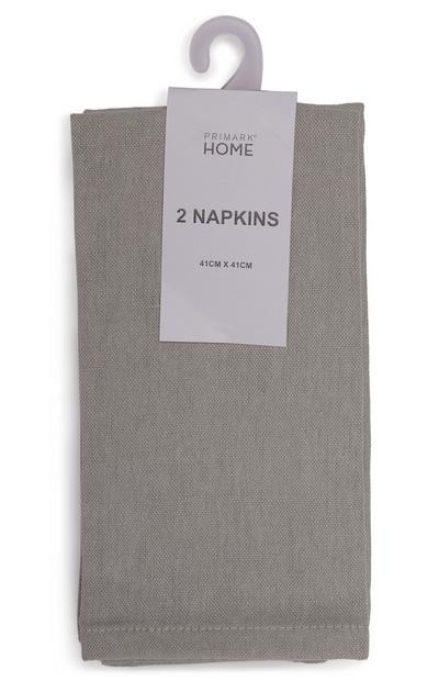 Grey Linen Napkins 2 Pack