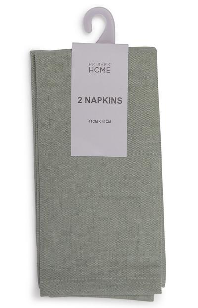 Green Linen Napkins 2 Pack